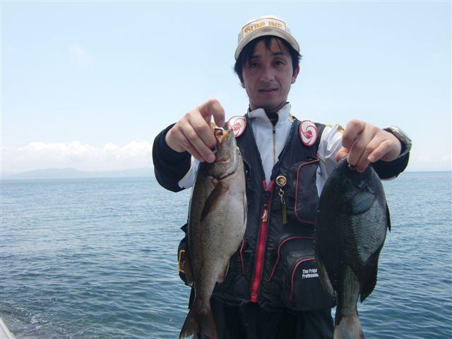 益田沖、高島の梅雨グレ、イサキ